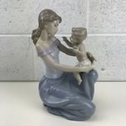 Vintage Lladro 6705 One For You, One For Me Mother And Child Figurine