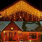 33ft 400 Led Icicle Lights Outdoor Christmas Decorations Lights Outdoor Eaves...