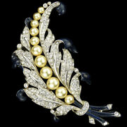 Trifari Philippe Pave Pearls Empress Eugenie Lily Of The Valley Pin Clip