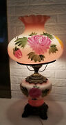 """Large Vintage Signed Stiffel Gone With The Wind Pink Parlor Lamp 25"""""""