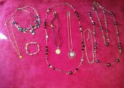 Lia Sophia All Signed 9 Piece Jewelry Lot 7 Necklaces 1 Ring 1 Bracelet