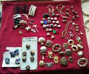 Mostly Vintage Over 100pc. Lot Hair Clips Button Covers Scarf Clips Tie Tack Etc