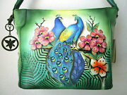 Anuschka Passionate Peacock Hand Painted Leather Shopper Tote Purse - Nwt