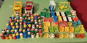 Vintage Fisher Price Lot Little People Cars Furniture School Baby See Dscr As Is