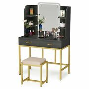 Vanity Set With Lighted Mirror And Cushioned Stool Home Dresser Desk W/ 2drawers