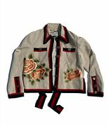 Bow Tie Ribbon Embroidered Floral And Butterfly Jacket Size 42