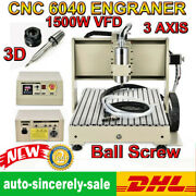 Usb 3 Axi Cnc 6040 Router Engraver 1.5kw Pcb Pvc Woodworking Ball Screws Cutter