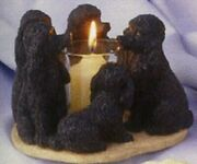 2 Pc Black Ceramic Poodle Circle Candle Holder Dog Figurine 6 X 6 New In Box