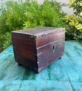 Antique Old Wooden Hand Crafted Brass Inlay Work On Lid Storage Box With Lock