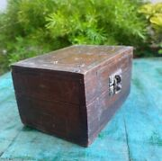 Antique Wooden Hand Crafted Brass Inlay Work Indian Jewelry Box With Mirror