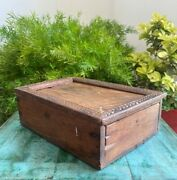 Antique Wooden Hand Carved Indian Kitchenware Spice Wax With Sliding Lid