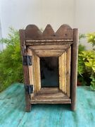 Antique Old Wooden Handcrafted Collectible Clock Display Case Box With Door