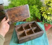 Antique Old Wooden Hand Crafted Kitchenware Spice Box With Six Compartments