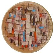 Rare Bitossi Italy Mid-20th C Vint Sgnd 12 Geo-abstract Sgraffito Cer Charger