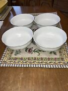 Villeroy And Boch 1748 Porcelain White Manoir Coupe Cereal Bowl Set Of 4
