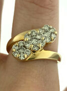 Vintage 2.0ctw Diamond Three Flower Design Bypass Ring In 14k Yellow Gold Size 8