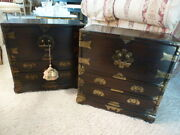 Rare Korean Tansu End Tables Chest Chinese Imports Vintage Pair Set Of 2