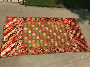 Vintage Embroidered Multicolor Quilt Top Fabric 97 X 50.5