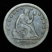 1855-s Seated Liberty Quarter ✪ Vf Very Fine ✪ 25c With Arrows Scarce ◢trusted◣