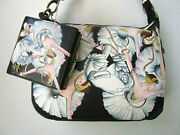 Anuschka Swan Dance Hand Painted Leather Convertible Hobo Purse And Wallet - Nwt