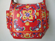 Anuschka Tuscan Tiles Red Hand Painted Leather Hobo With Coin Pouch - Nwt