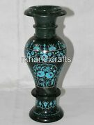 14 Inches Marble Decorative Vase Inlay Flower Pot With Turquoise Stone Work