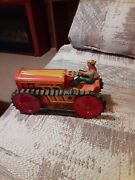 1950's Marx Mar Toys Wind Up Tin Climbing Tractor With Driver Usa Preowned