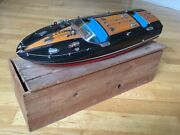 Rare 19 Inch Original Boxed Wooden Battery Speed Motor Launch Boat Toy C1960