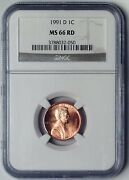 1991-d Lincoln Memorial Reverse Penny 1 Cent Ngc Ms66rd Graded Coin