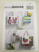 Butterick 5659 Bags Totes Sewing Pattern Fabric Purse Lined Inside Pockets Uc Ff