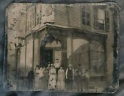 Pair Of Vintage Large Tintypes Of Saloon With People Outside C. 1865-1875