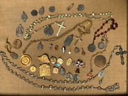 Lot Assorted Vintage Religious Medals And Rosaries Pins Pendants Mother Of Pearl