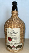 Vintage Ron Bacardi Superior Dark Rum Glass Bottle Wrapped Wicker And Handle W/cap