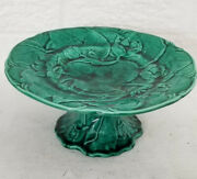 """Superb Antique English Majolica Lotus Green Leaf And Flowers Tazza Compote D 9"""""""