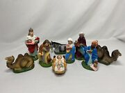 Vintage Chalkware Nativity Set From Japan 9-pieces Figures 1960s