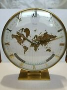 Large Midcentury Kienzle Gmt World Time Zone Brass Table Clock, Germany, 1950s
