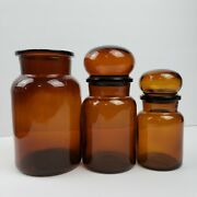 Vintage Amber Brown Bubble Top Glass Containers Canister Jar Set Made In Belgium