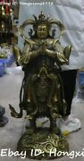 Chinese Folk Pure Bronze Stand Myth Weituo Wei Tuo Warrior God Immortal Statue