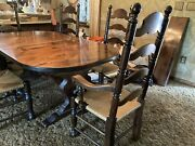 Vintage Ethan Allen Antiqued Pine Dining Table 6 Ladder Back Rush Chairs
