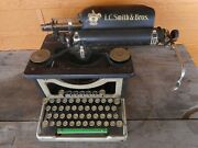 Antique Lc Smith And Bro Black Gold Typewriter Manual Ornate Salvage Cond Stuck
