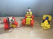 Lot/3 Vintage Antique Toys Fisher-price Pull Toys Jalopysnoopy And Toot Toot