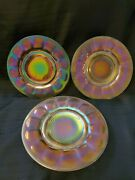 Set Of 3 Imperial Art Glass Stretch Glass Iridescent Carnival Art Deco Plates