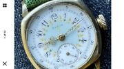 Elgin 1910and039s Wwi Military Cushion Case Original Enamel Dial Gold Filled Runs