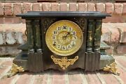 Antique Wml Gilbert Mantle Clock Adamantine And Wood Case Works Great 1904 Dated