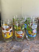 Vintage Mcdonalds Camp Snoopy Collection Glasses Lot Of 8 Pristine Condition