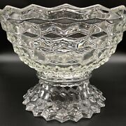 Fostoria American Punch Bowl Clear 14 Cubist With Base