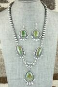 Turquoise And Sterling Silver Necklace And Earrings Set - Derrick Gordon