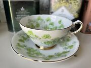 Stanley Bone China Tea Cup And Saucer Set Green Gold Lucky Leaf Clover England