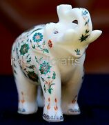 06 Inches Marble Up Trunk Elephant With Malachite Stone Elephant Statue For Gift