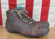 Vintage 1910s Antique Leather Soccer/football Shoes Stacked Cleats Rugby Display